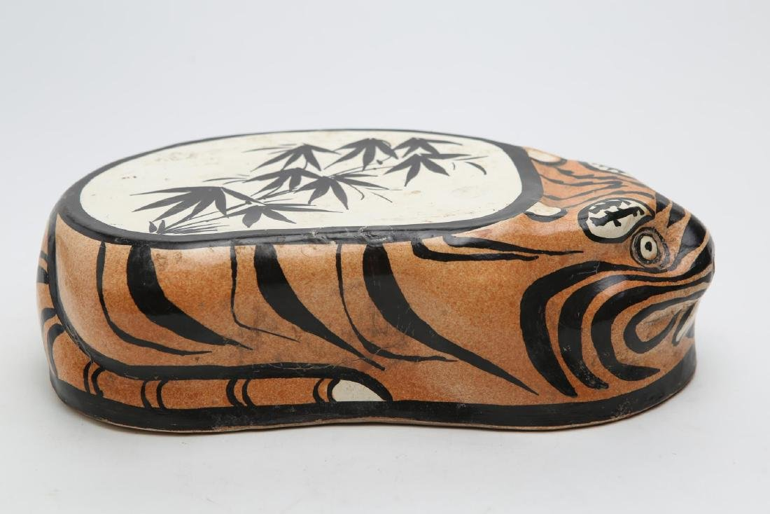 Chinese Tiger Pillow, Stoneware Pottery - 6