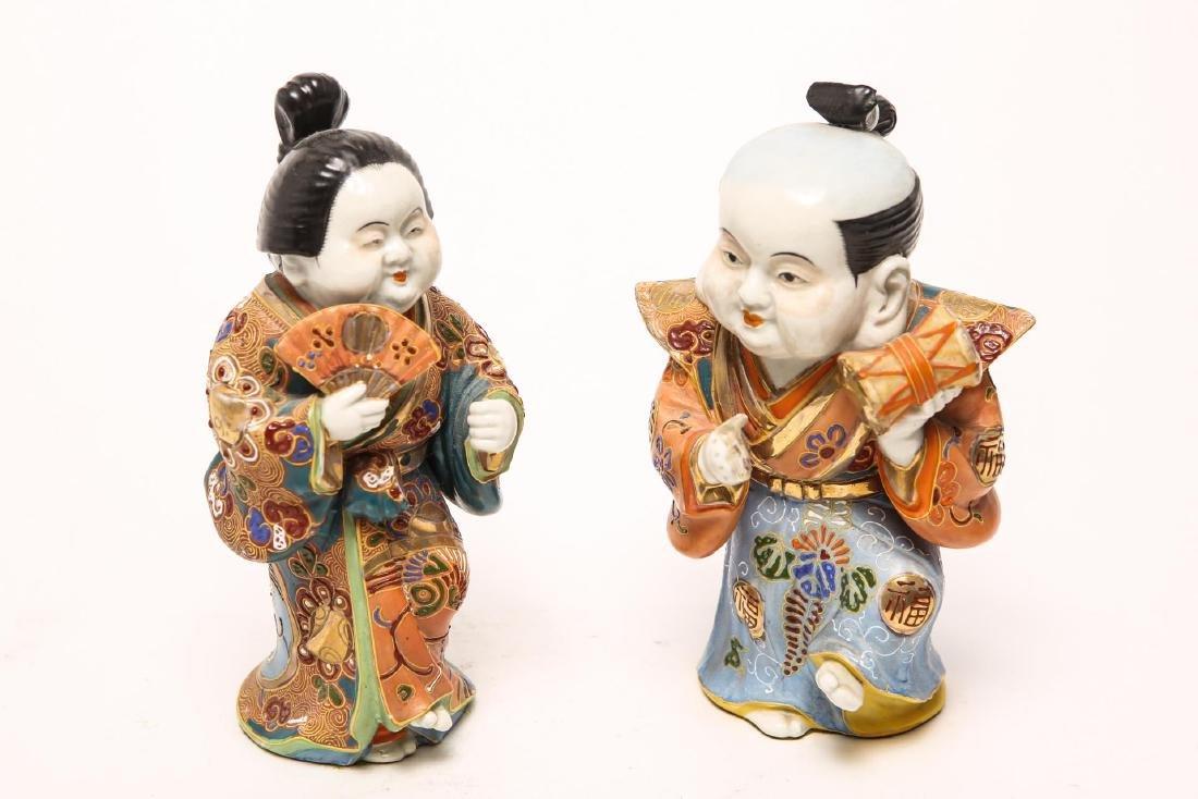 Japanese Satsuma Musician & Dancer Figurines, Pair