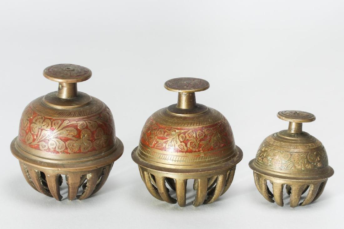Indian Brass Bells, 3 with Incising & Enamel