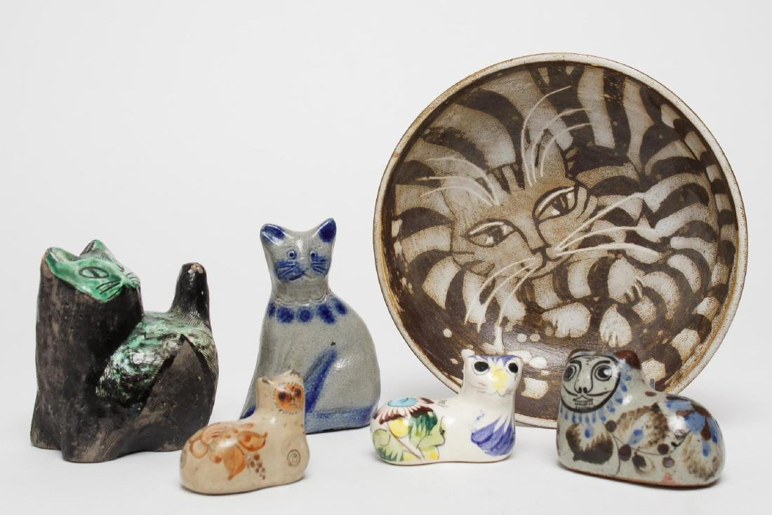 Cat-Themed Pottery Items, Group of 6