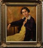Signed Eric George- Oil on Canvas Portrait, 1920s