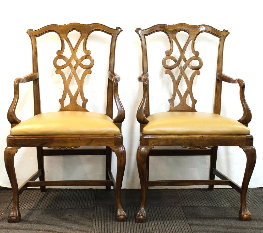 Queen Anne-Manner Arm Chairs, Upholstered Pair