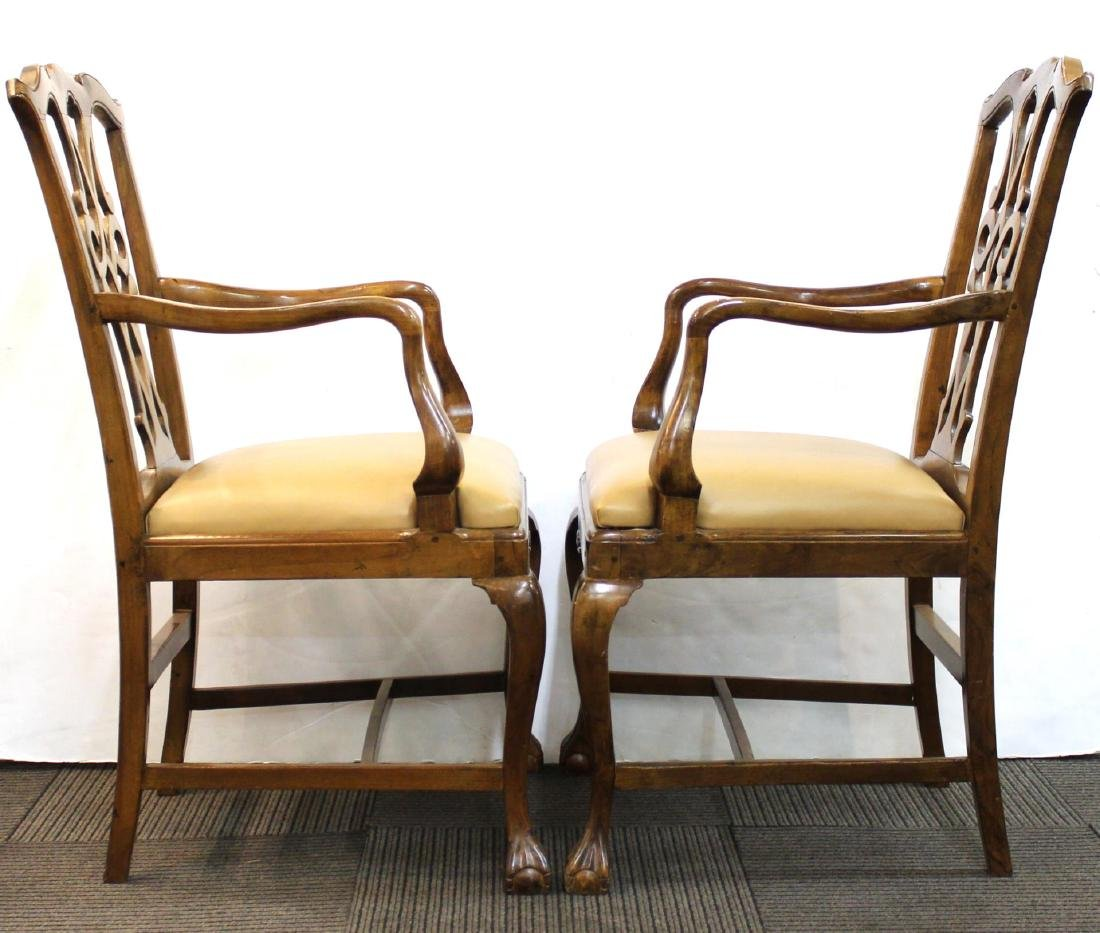 Queen Anne-Manner Arm Chairs, Upholstered Pair - 2