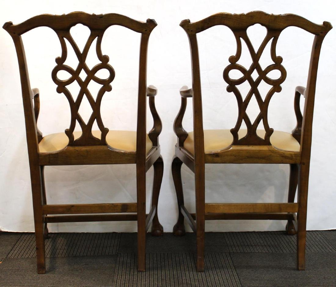 Queen Anne-Manner Arm Chairs, Upholstered Pair - 3