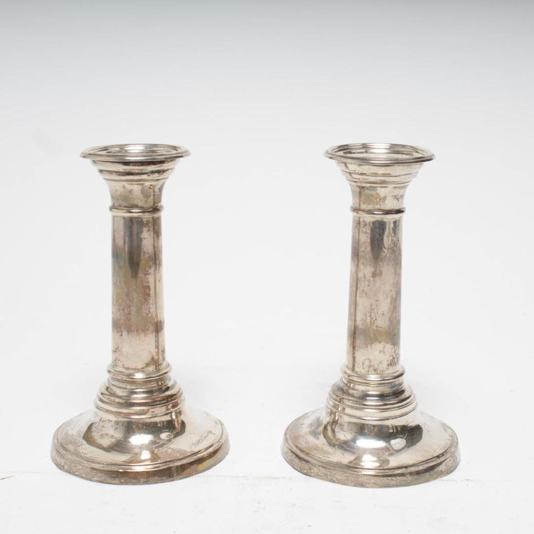 Antique Neoclassical Silver Candlesticks, Weighted