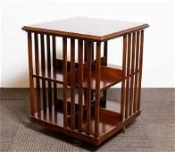 Mahogany Revolving Bookcase/Side Table, FLW-Manner