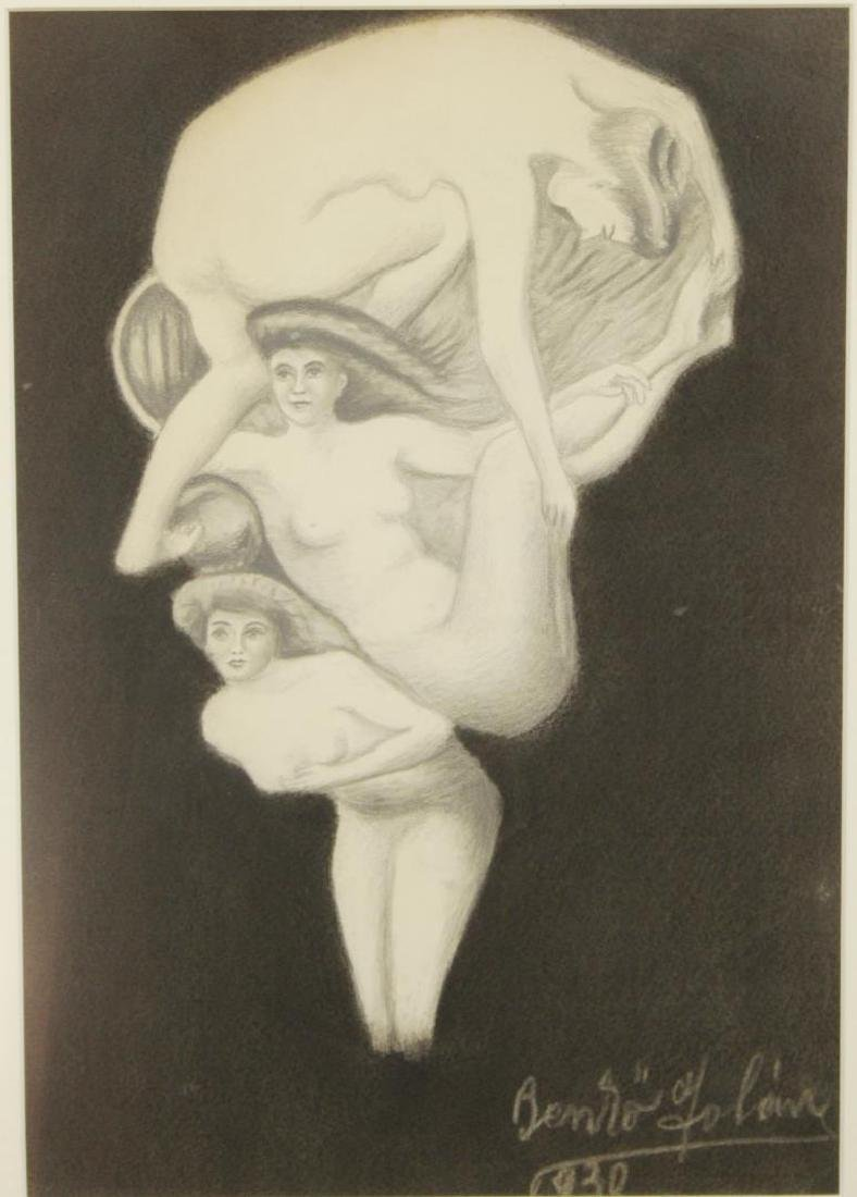Illegibly Signed- Surrealist Drawing, 1930 - 2