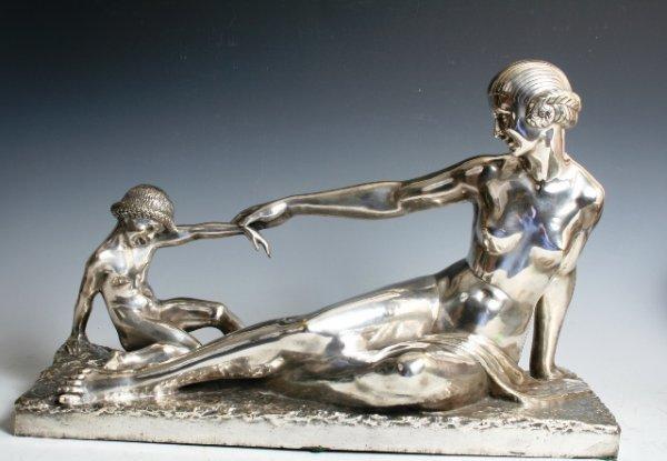 2005: Bouraine Art Deco Silvered Bronze Sculpture c1920