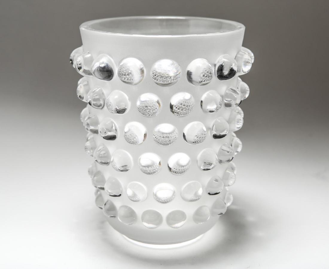"Lalique Crystal ""Mossi"" Hobnail Glass Vase"