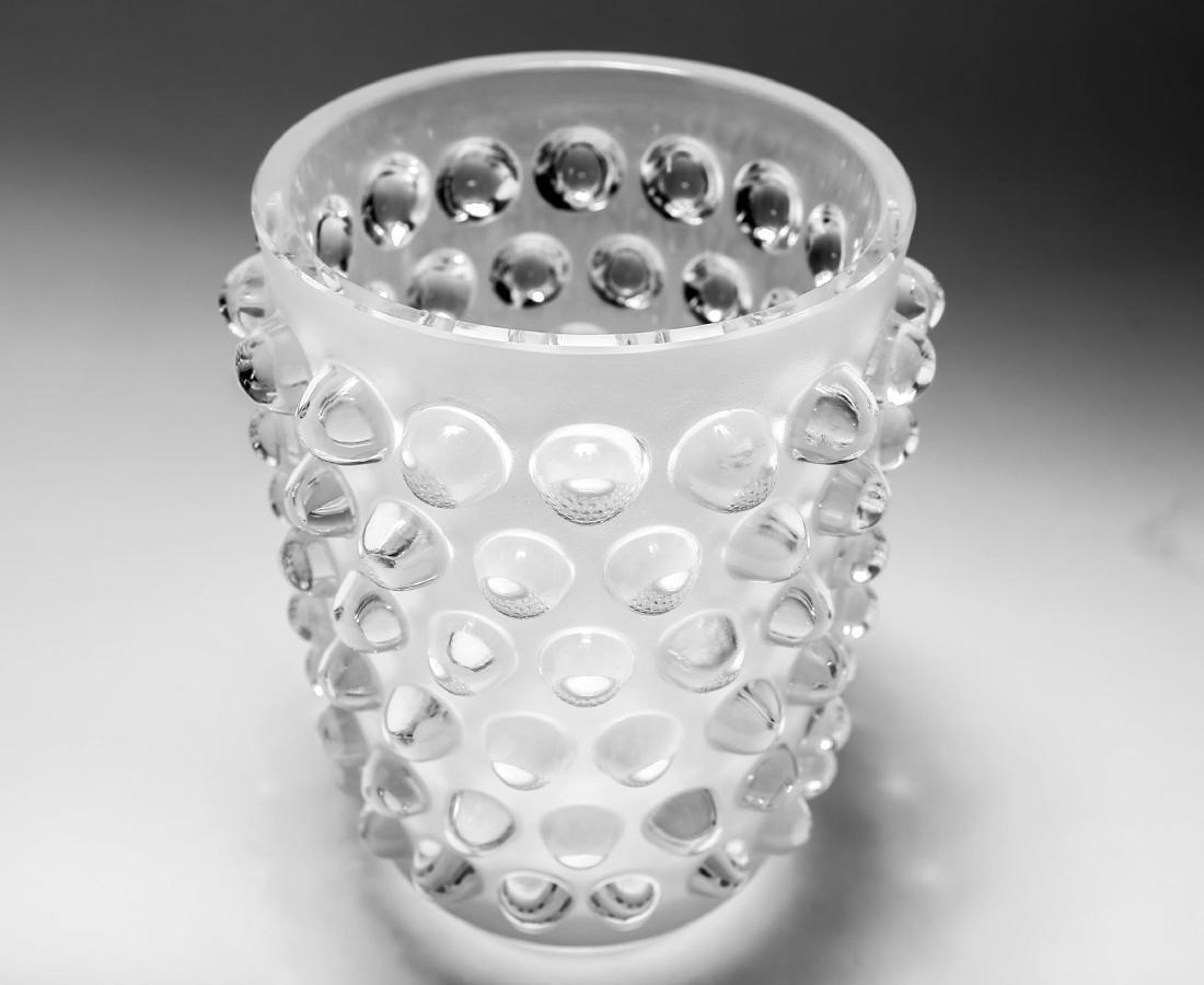 "Lalique Crystal ""Mossi"" Hobnail Glass Vase - 4"