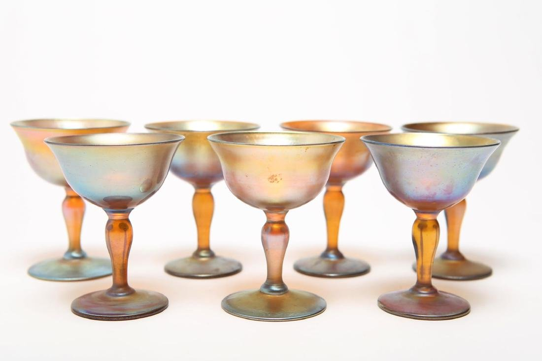 Louis Comfort Tiffany Favrile Glass Coupes, 7 Pcs.