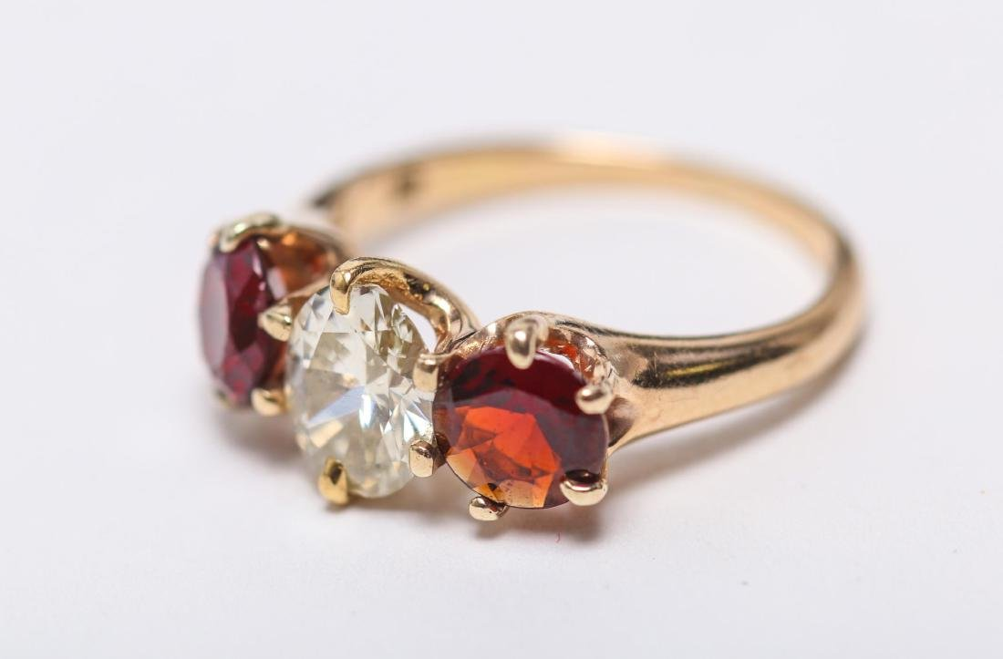 Vintage Diamond, Garnet, & 14K Gold Ring - 2