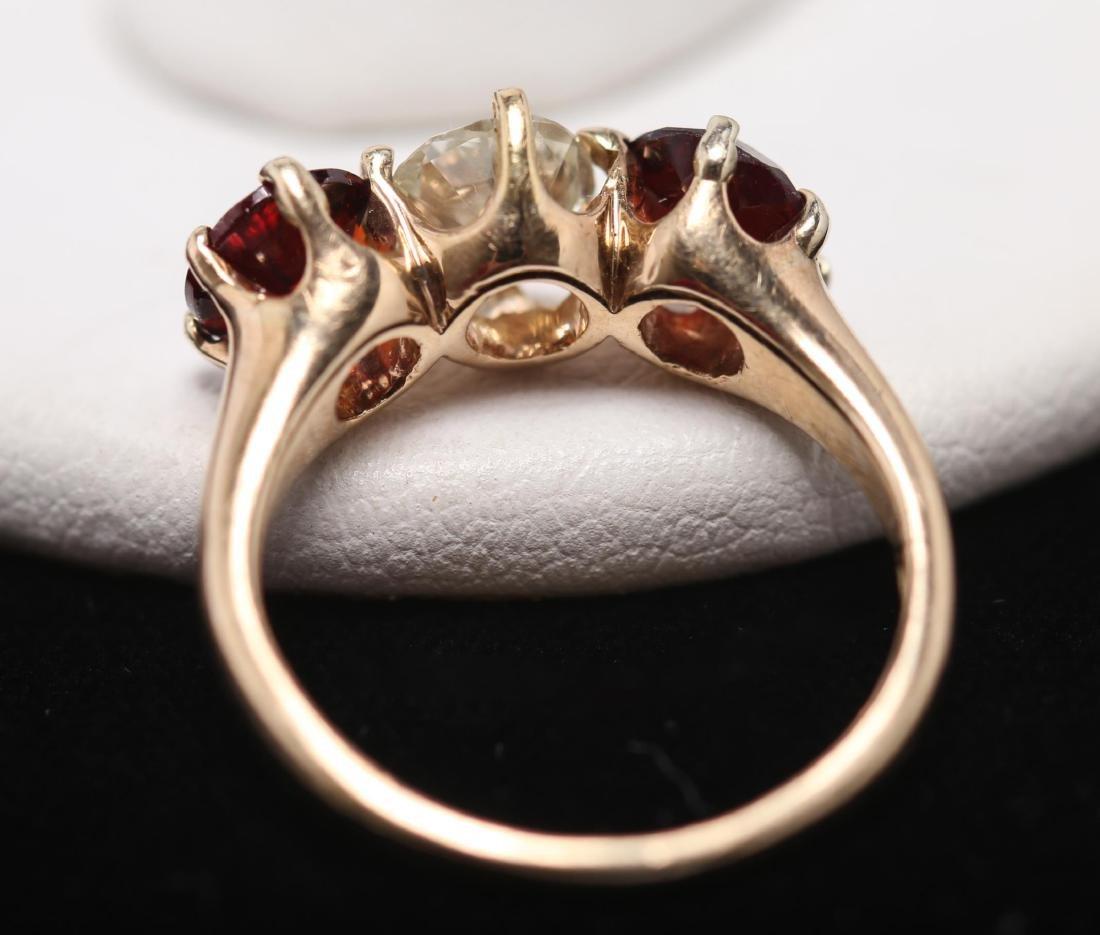 Vintage Diamond, Garnet, & 14K Gold Ring - 3