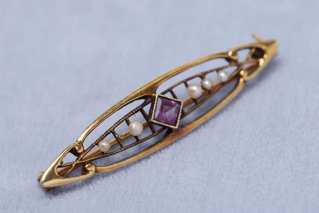 Amethyst, Seed Pearl, & 14K Gold Brooch, Antique