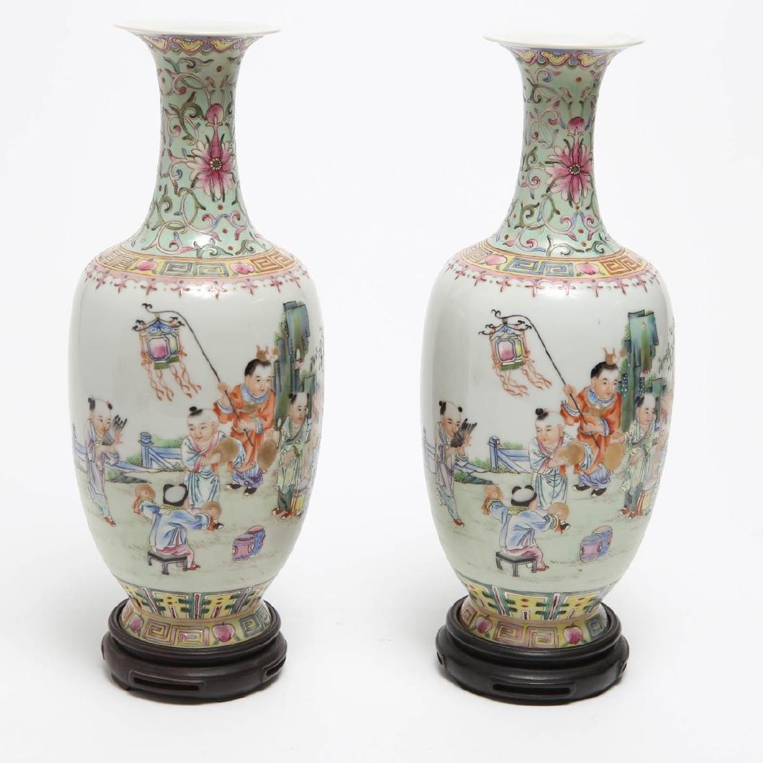 Chinese Famille Rose Export Porcelain Vases, Pair