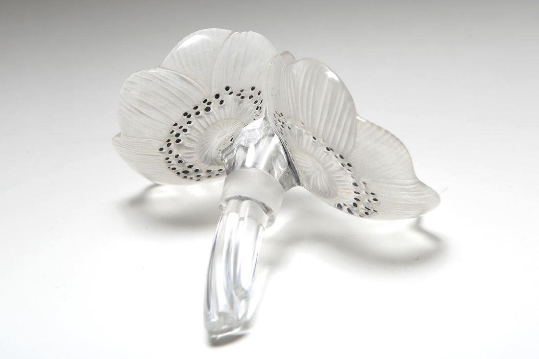 "Lalique Glass Paperweight ""Double Anemone"" Flowers - 2"