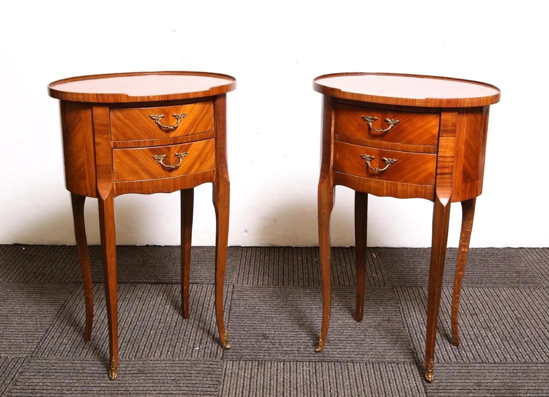 Italian Parquetry Side Tables, Fruitwood, Antique
