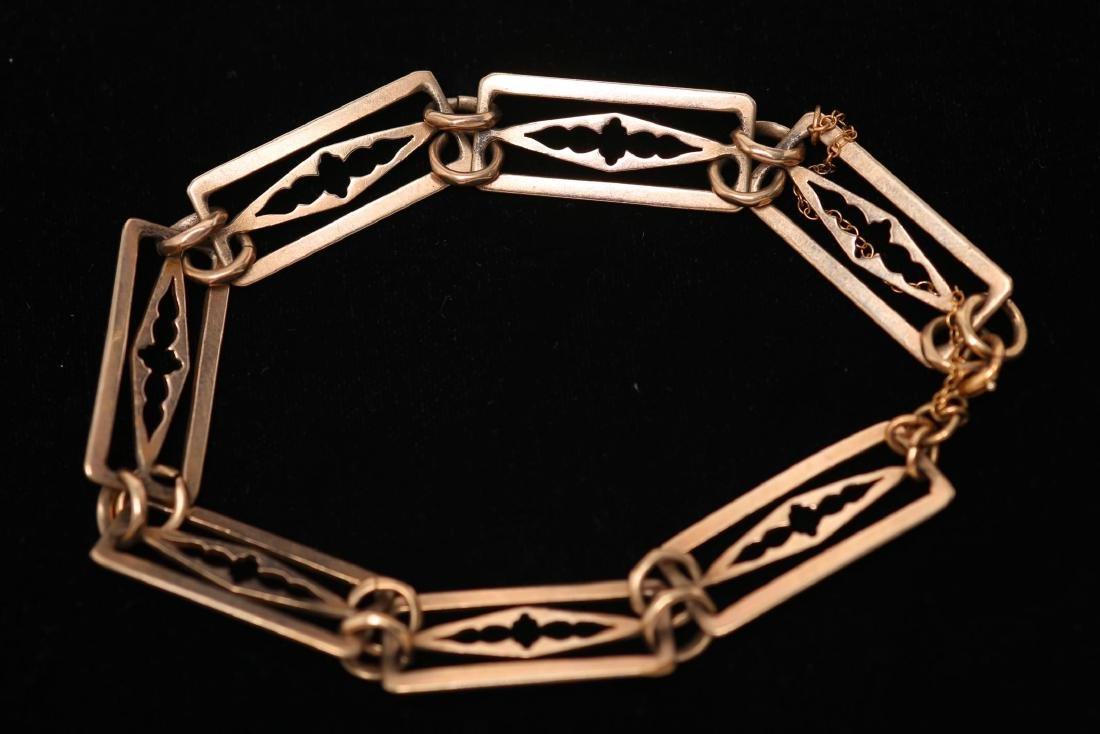 Vintage Gold Chain Bracelet, 12K Pierced Links
