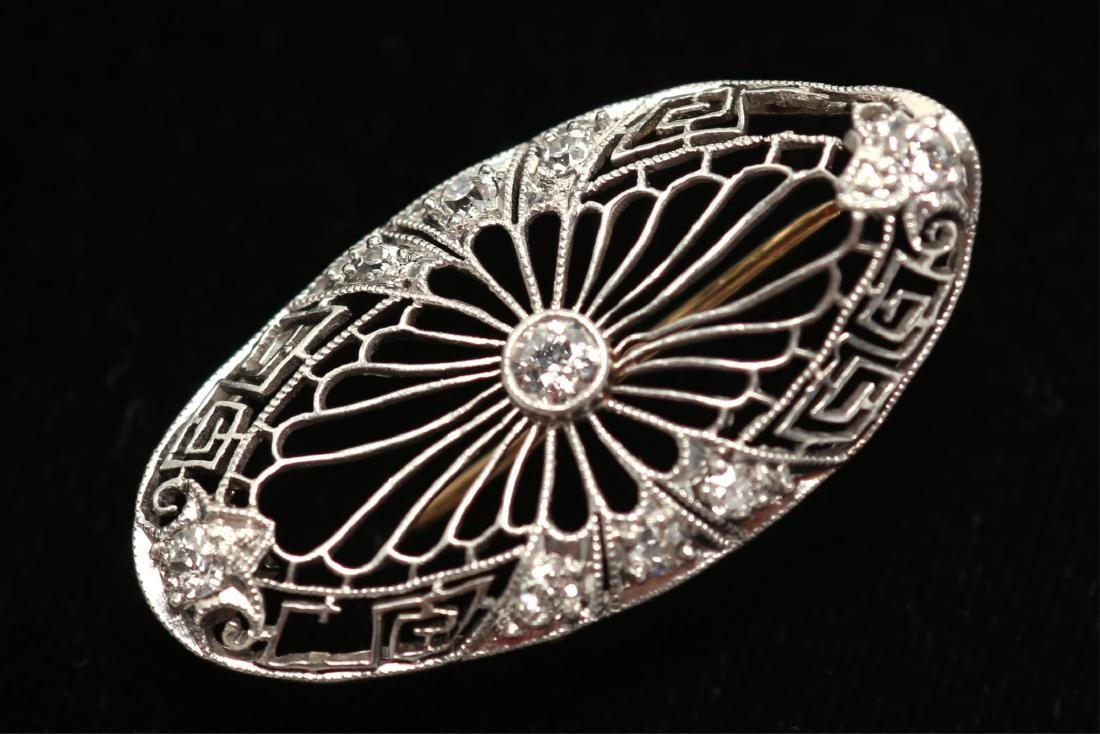 Art Deco Brooch, Diamond & 14K White Gold Openwork
