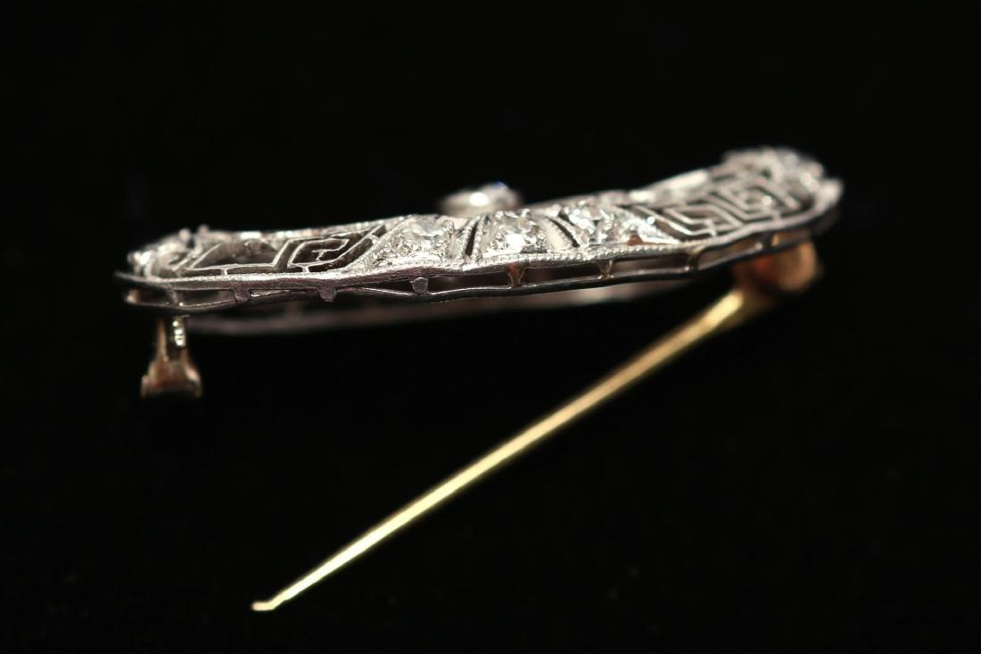 Art Deco Brooch, Diamond & 14K White Gold Openwork - 3