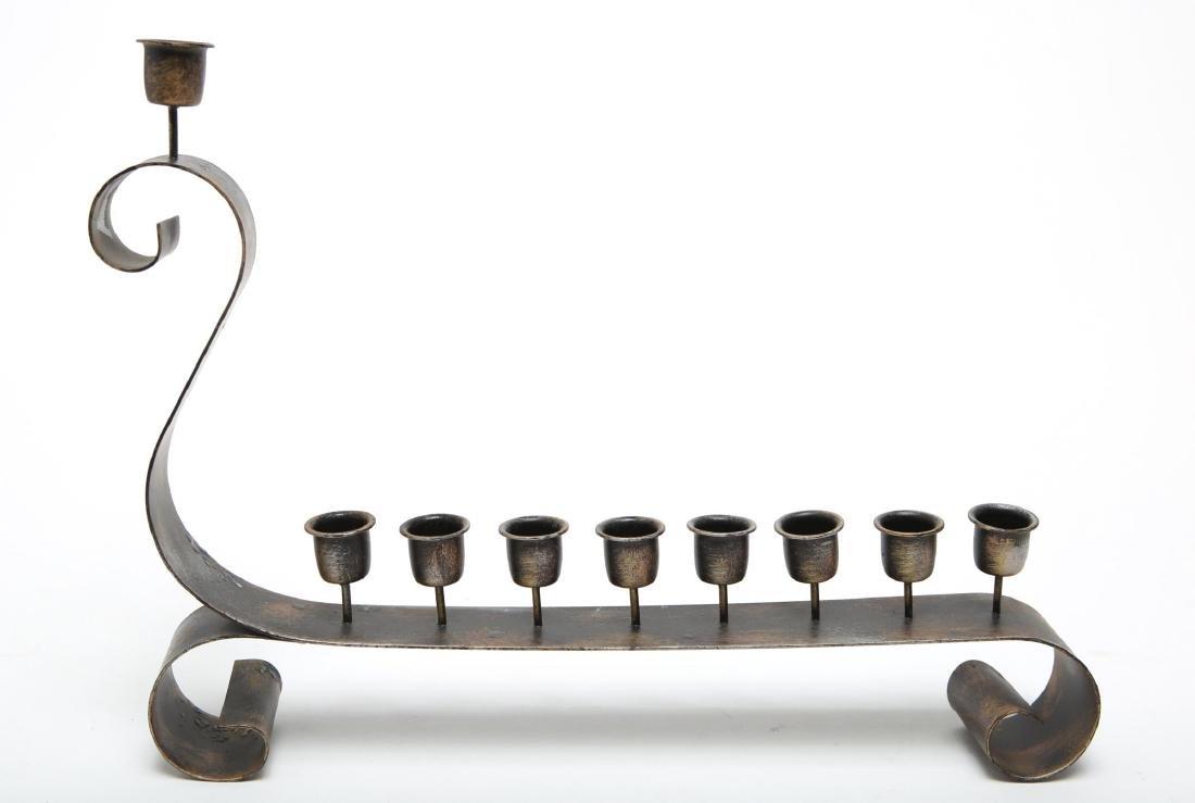 Judaica Menorah, Modernist in Wrought Iron
