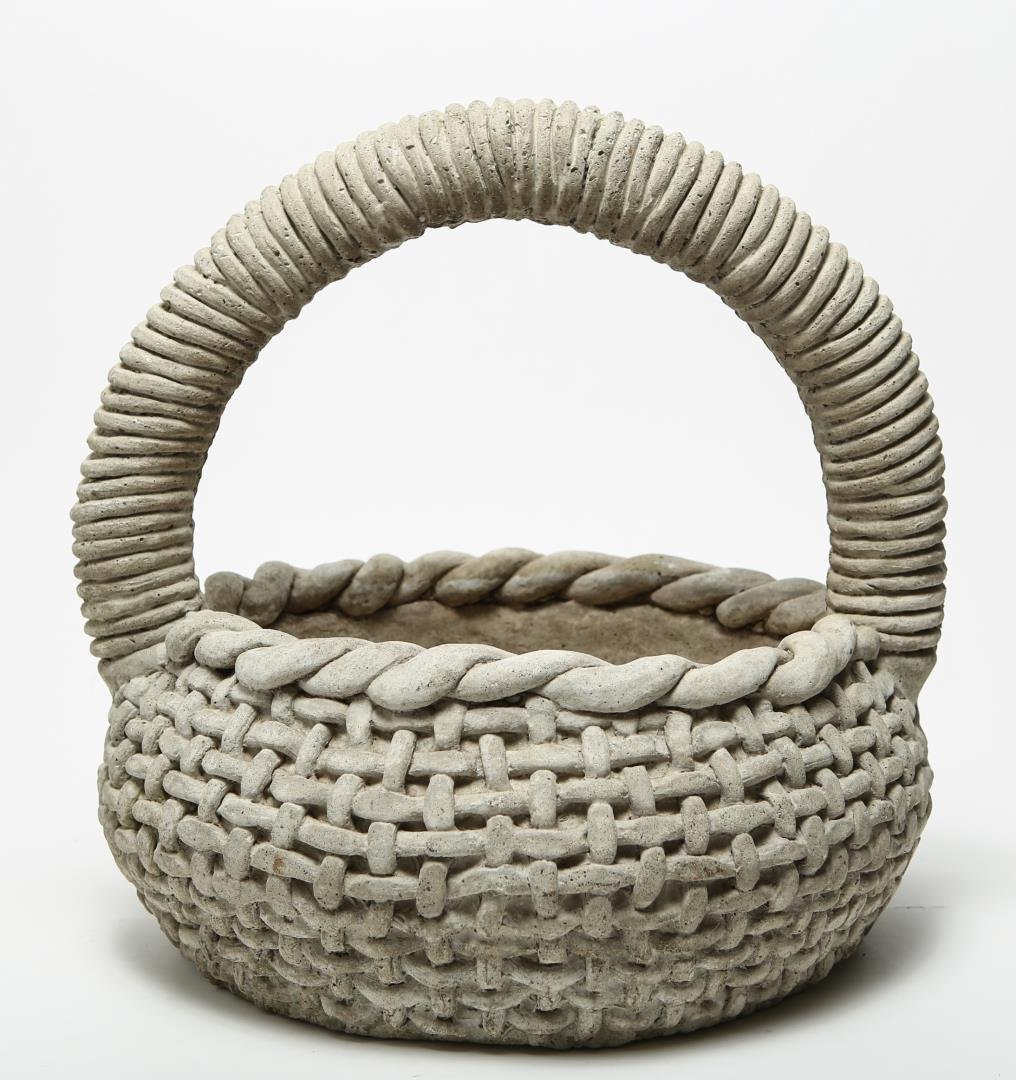 Cast Stone Woven Basket Planter, Large