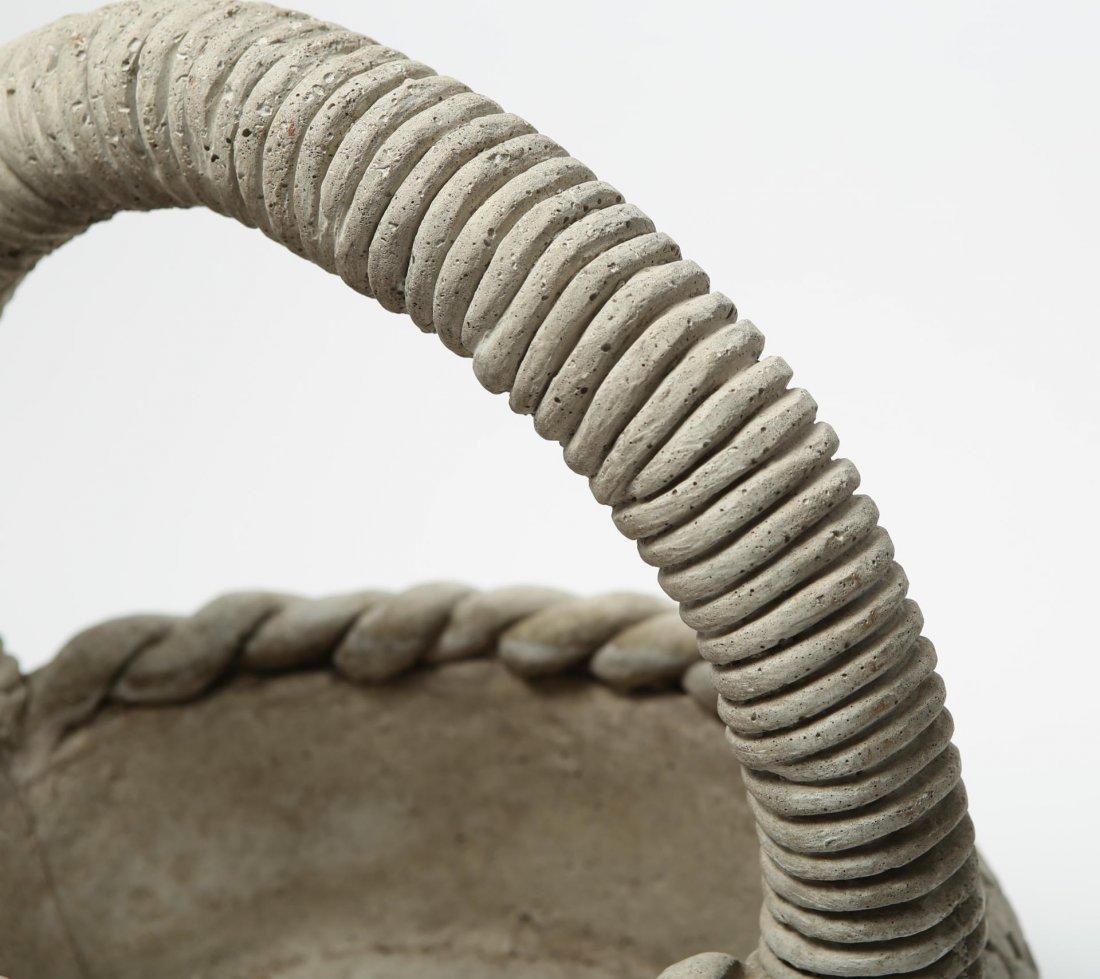 Cast Stone Woven Basket Planter, Large - 4