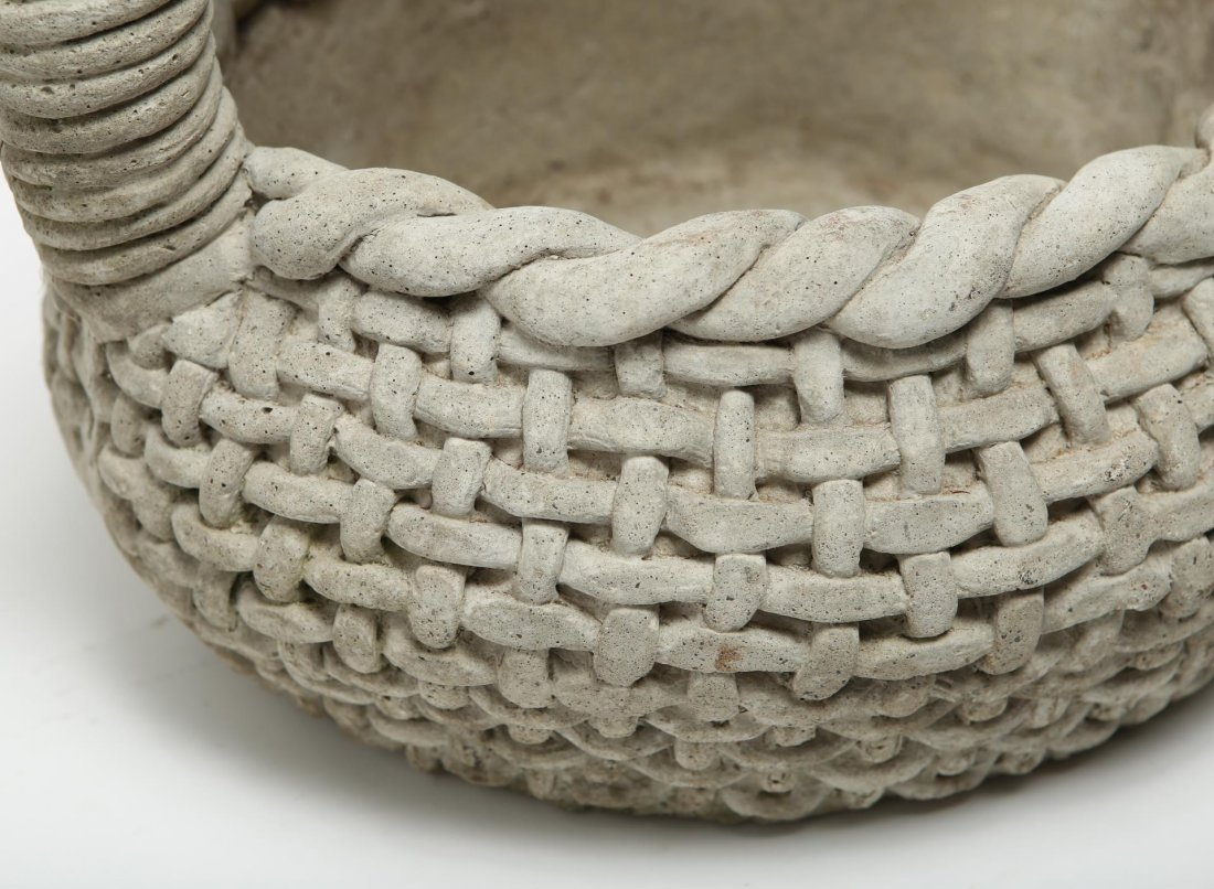 Cast Stone Woven Basket Planter, Large - 5