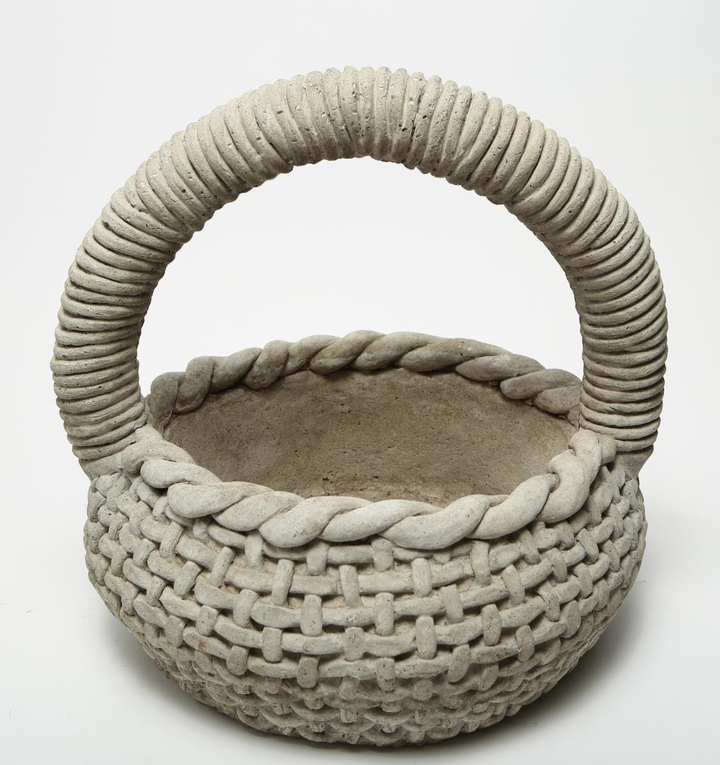 Cast Stone Woven Basket Planter, Large - 6