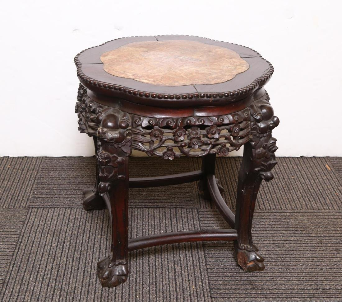 Chinese Carved Side Table, Hardwood & Marble