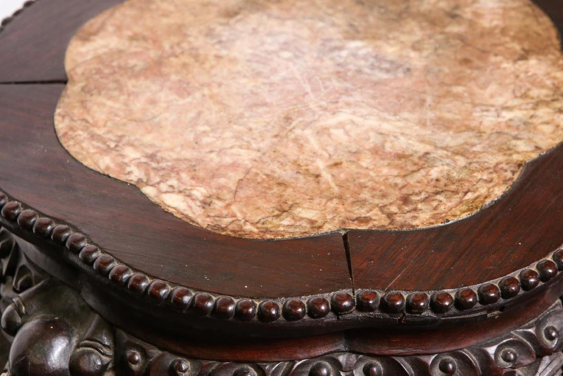 Chinese Carved Side Table, Hardwood & Marble - 4