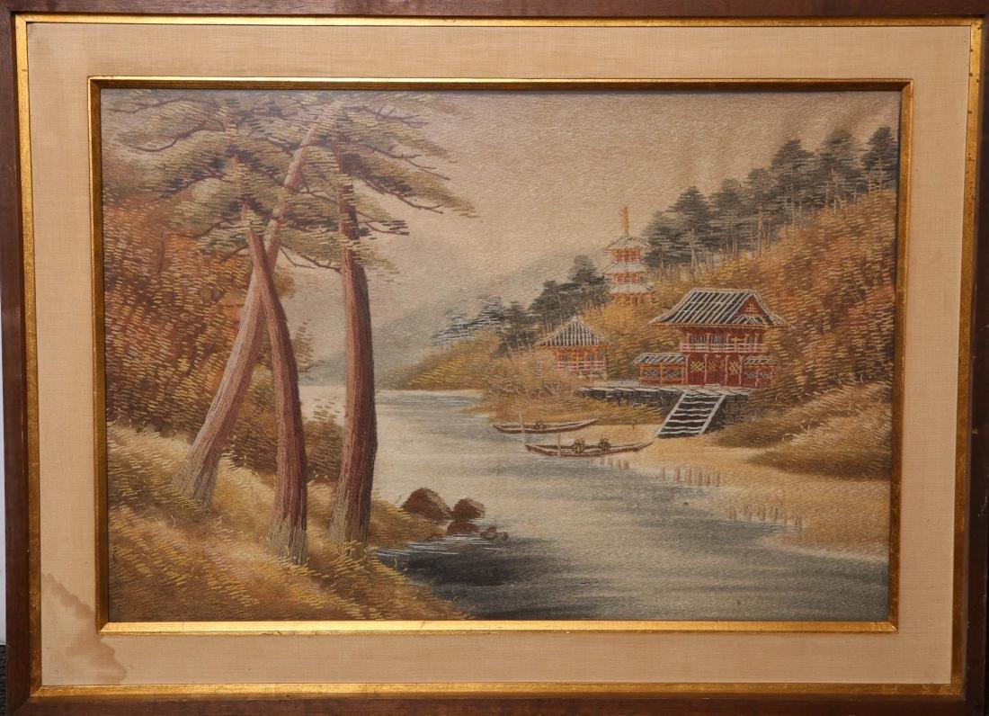 Japanese Tapestry, Woodland Landscape Scene