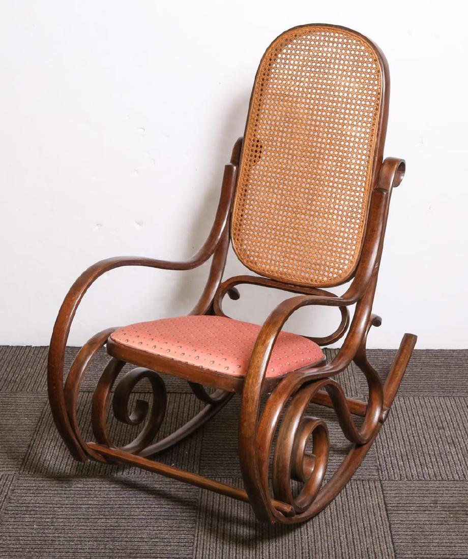 Thonet-Manner Rocking Chair- Bentwood & Cane