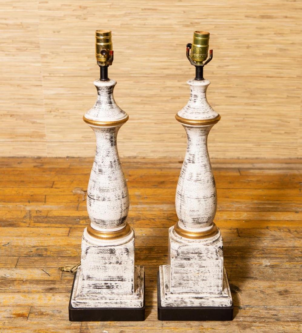 Porcelain Table Lamps, Pair in White & Gilt