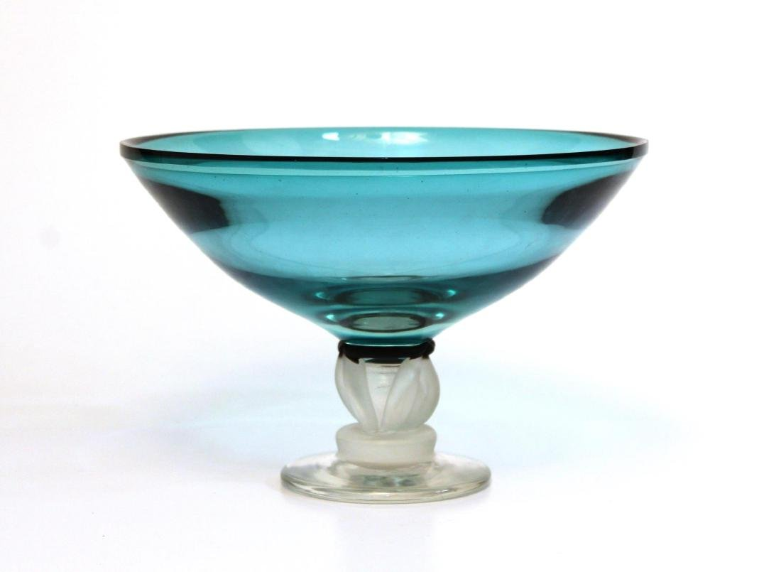 Modernist Art Glass Compote, Signed Smith