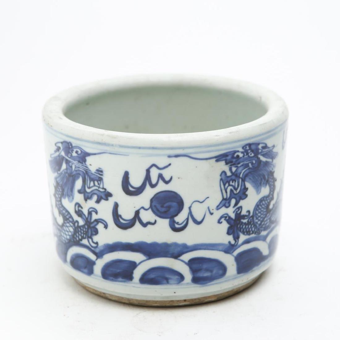Chinese Qing Blue & White Porcelain Dragon Pot