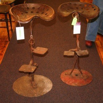3011: Pair of Rustic Handmade Metal Bar Stools