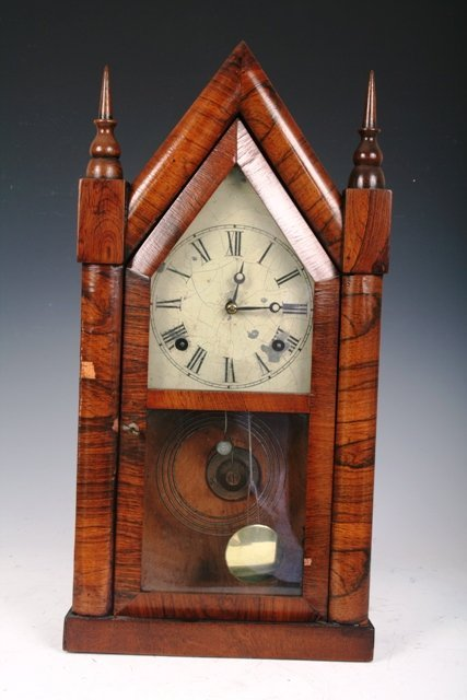 3015: 19th C Gothic Style Hanging Clock with Key