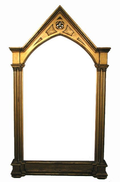 3016: Late 19th C. Victorian Gothic Revival Gilt Mirror