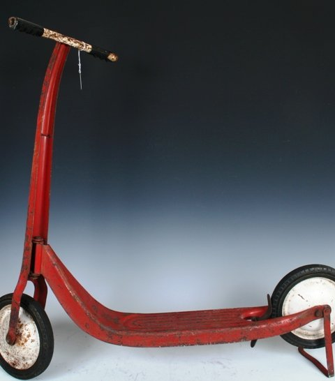 3017: Children's Vintage Red Toy Scooter