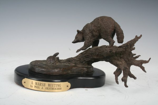 "3020: P. Oesteicher ""A Marsh Meeting"" Bronze Sculpture"