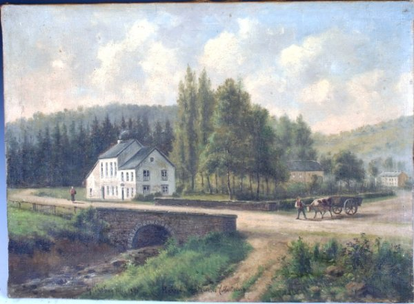 "3541: Signed French Landscape ""Marteau"" Painting 1891"