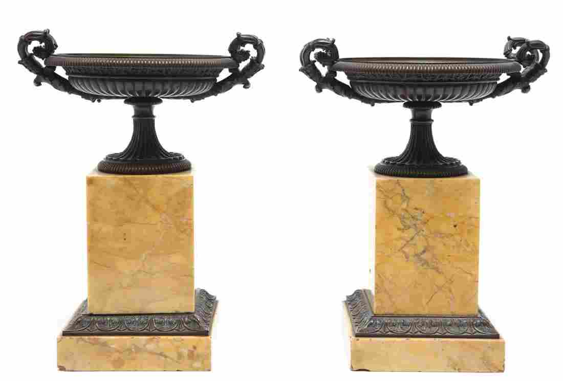 Neoclassical Bronze Tazza Urns on Marble Plinths