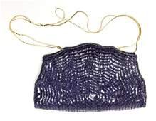 Judith Leiber Blue Snakeskin Clutch Bag, Vintage