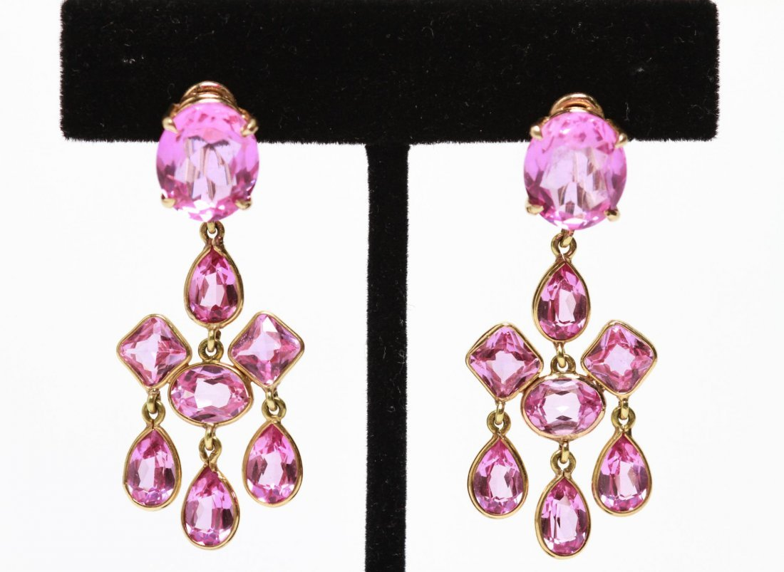 14K Gold Pink Sapphires Dangle Earrings, Pair