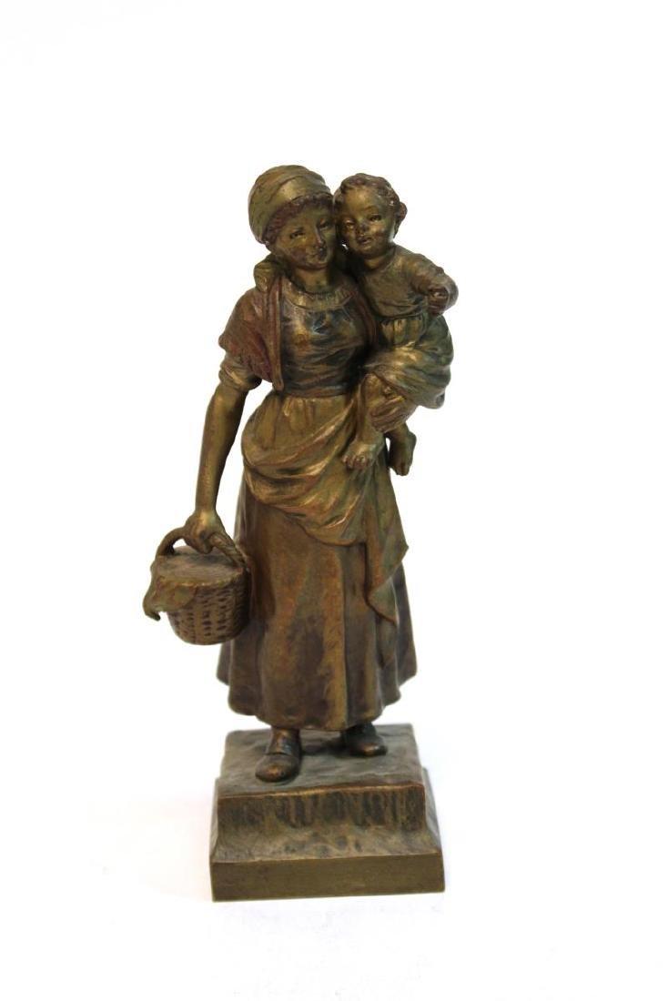 """Carl Kauba, """"Mother & Child"""" Bronze Sculpture"""