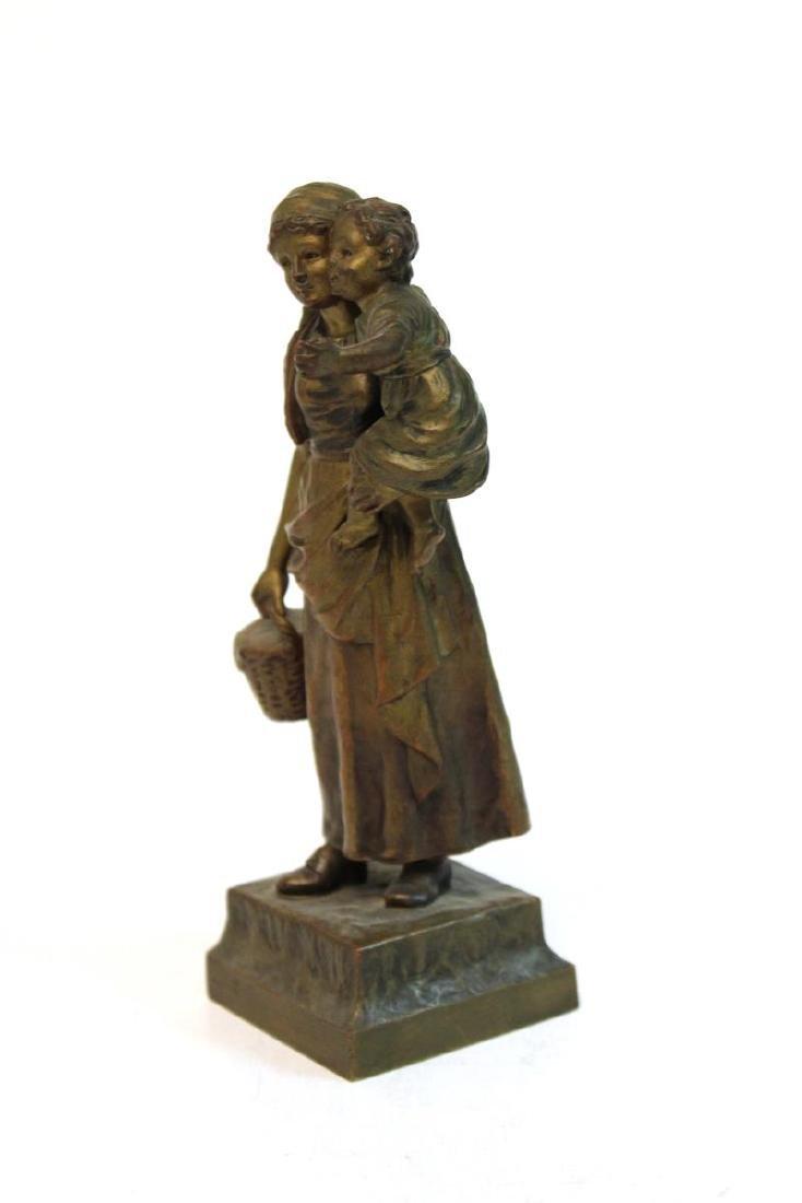 """Carl Kauba, """"Mother & Child"""" Bronze Sculpture - 2"""