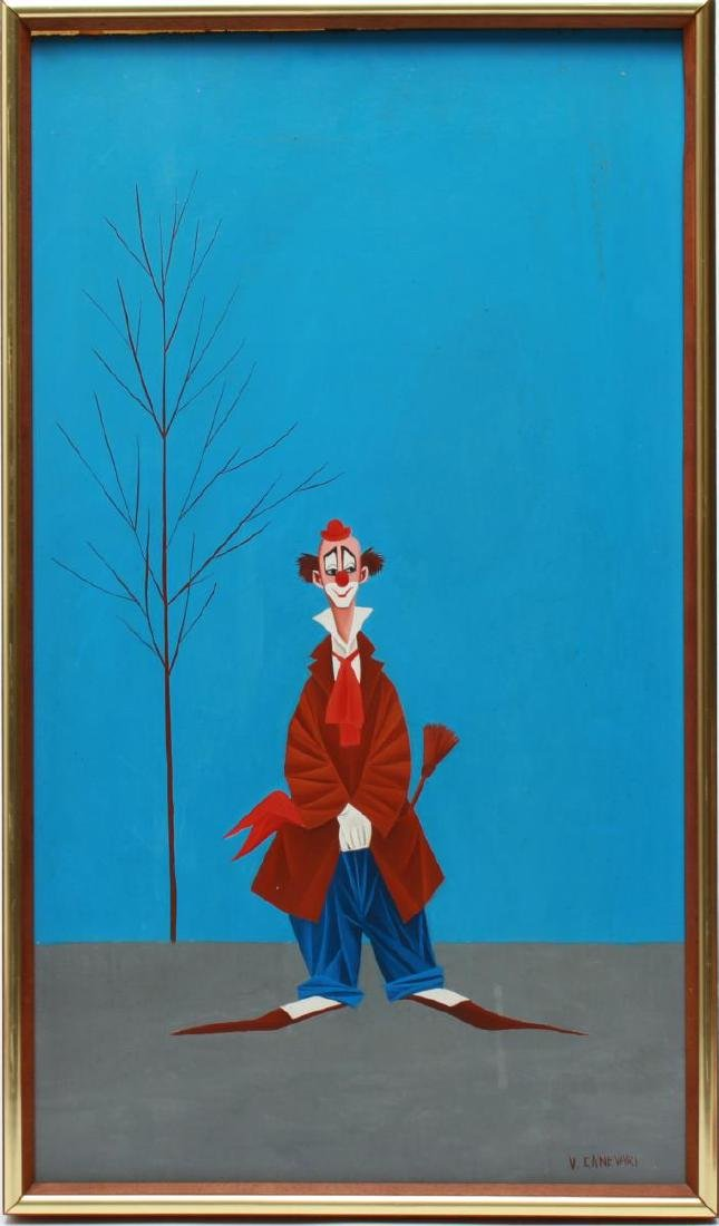 Veniero Canevari Clown & Tree Oil on Board