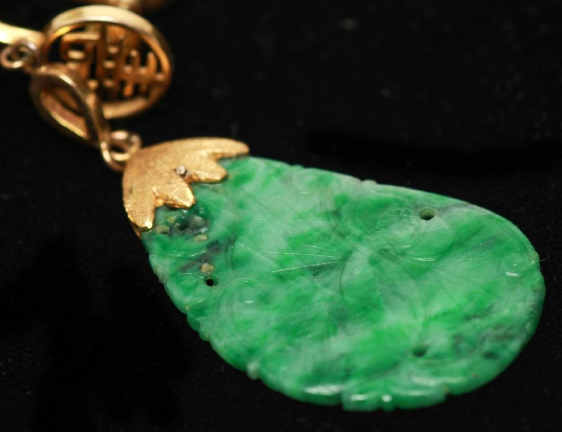 14K Gold Chinese Jade Dangle Earrings, Pair - 6