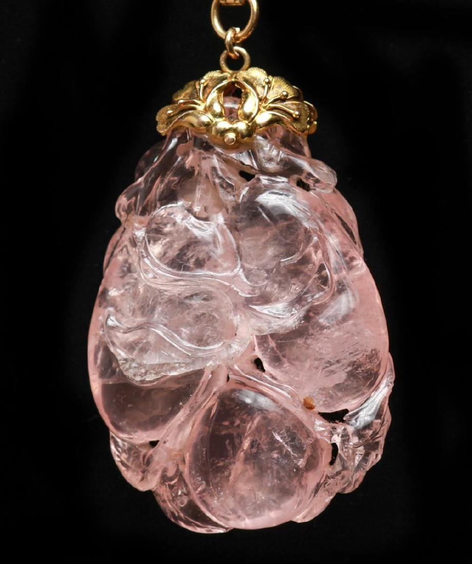 14K Gold Rose Quartz Pendant with Hinged Bail - 2